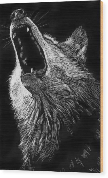 Howling Wolf Wood Print