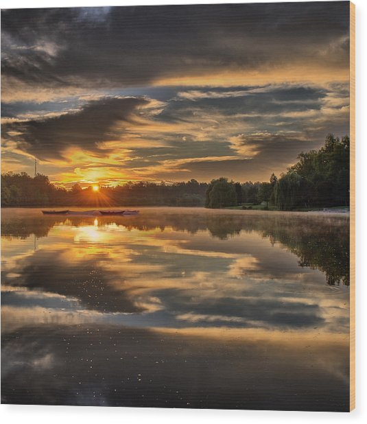 Hoyt Lake Sunrise - Square Wood Print