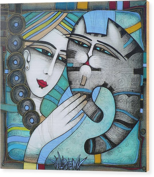hug Wood Print by Albena Vatcheva