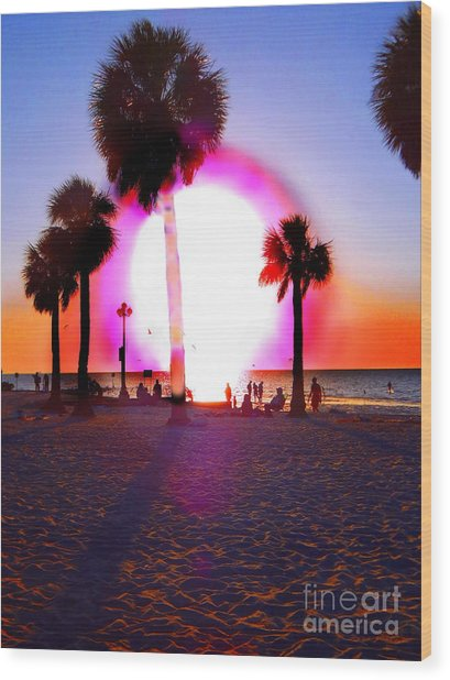 Huge Sun Pine Island Sunset  Wood Print