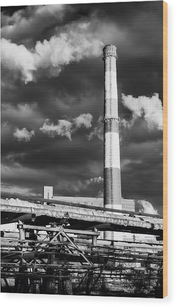 Huge Industrial Chimney And Smoke In Black And White Wood Print