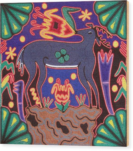 Huichol Deer Wood Print by Andrew Osta