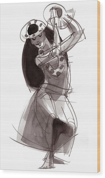 Hula Dancer Alika Wood Print