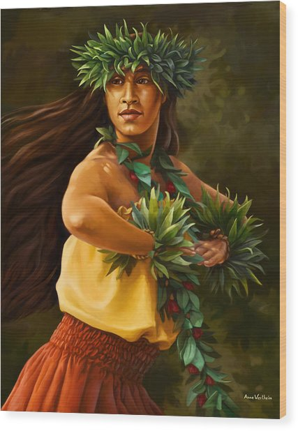 Hula Dancer Wood Print by Anne Wertheim
