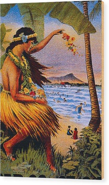 Hula Flower Girl 1915 Wood Print
