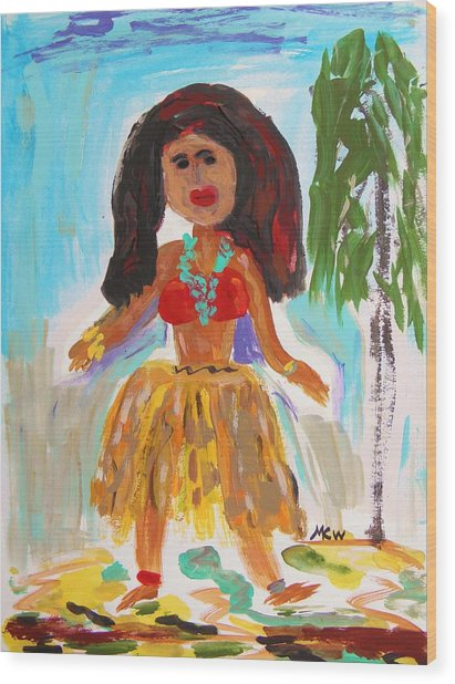 Hula Girl Wood Print
