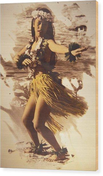 Hula On The Beach Wood Print