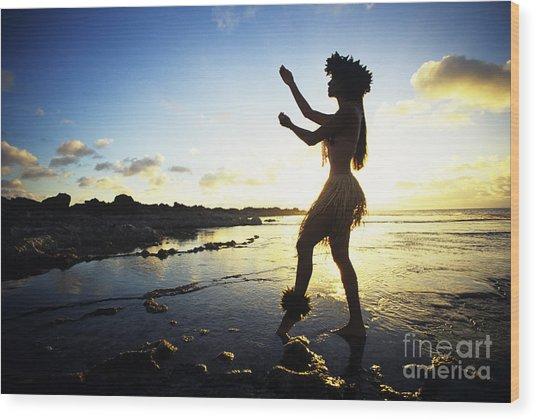 Hula Silhouette Wood Print