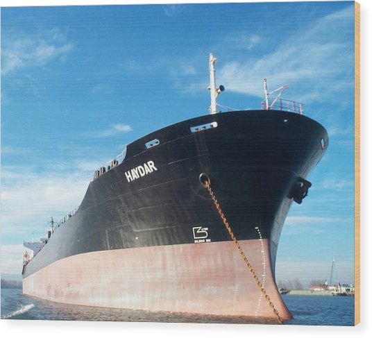 Hull Of Vessel Haydar At Anchor Wood Print by Alan Espasandin