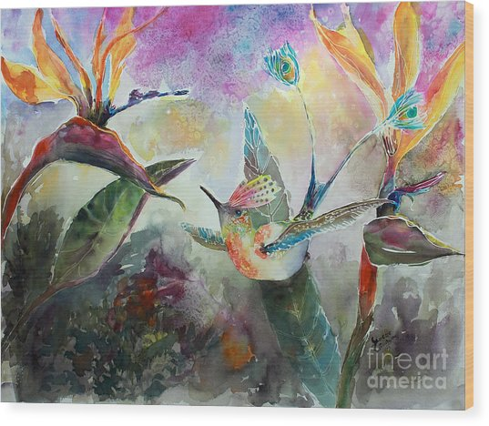 Hummingbird And Birds Of Paradise Tropical Watercolor Wood Print