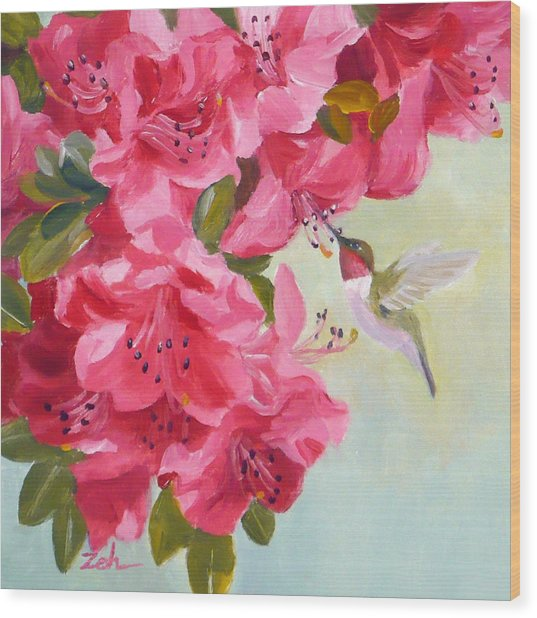 Hummingbird And Pink Azaleas Wood Print