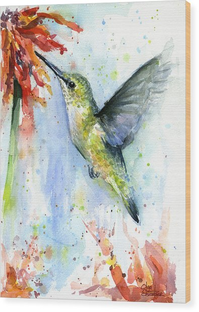 Hummingbird And Red Flower Watercolor Wood Print