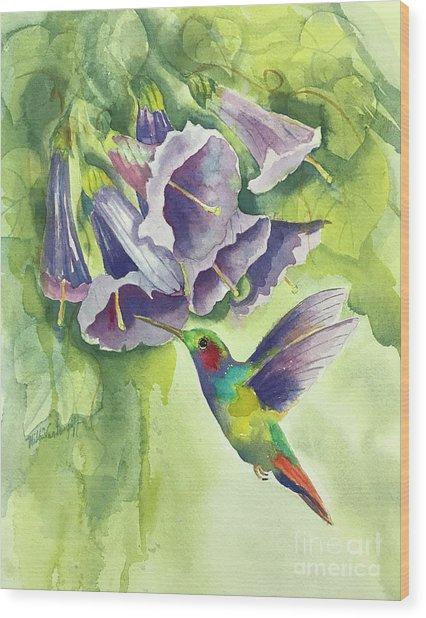 Hummingbird And Trumpets Wood Print