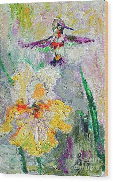 Hummingbird And Yellow Bearded Iris Summer Splendor Wood Print