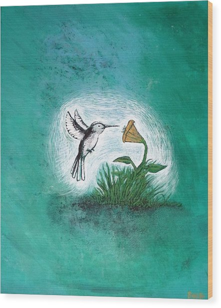 Wood Print featuring the painting Hummingbird by Antonio Romero