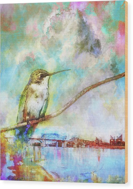 Hummingbird By The Chattanooga Riverfront Wood Print