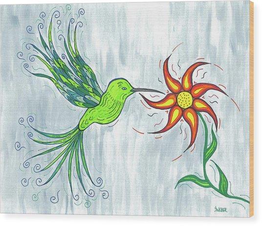 Hummingbird Floral Wood Print