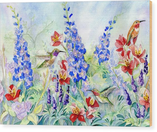 Hummingbird Garden In Spring Wood Print