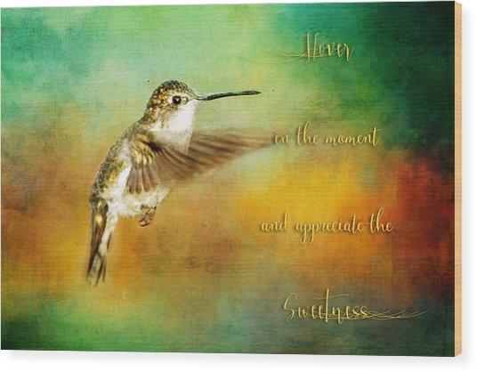 Hummingbird Hover Wood Print