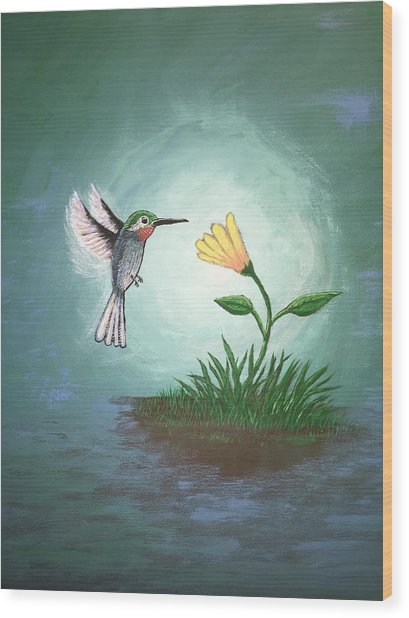 Wood Print featuring the painting Hummingbird II by Antonio Romero
