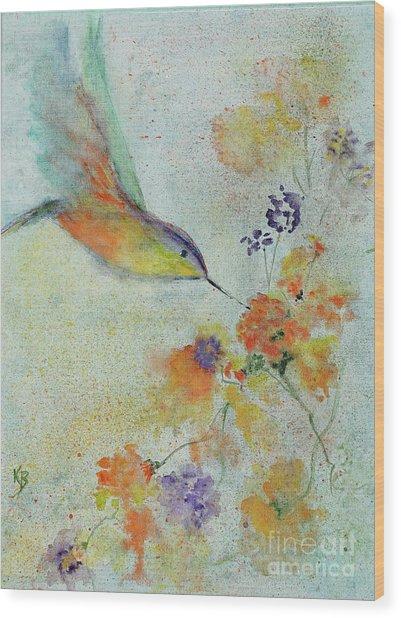 Wood Print featuring the painting Hummingbird by Karen Fleschler