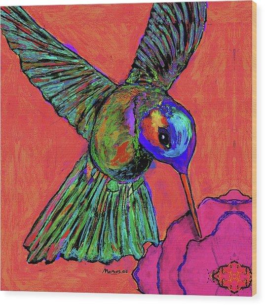 Hummingbird On Red Wood Print