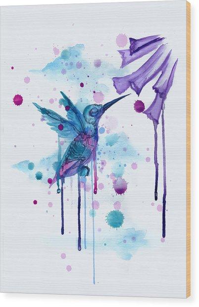 Hummingbird Skeleton 2.0 Wood Print