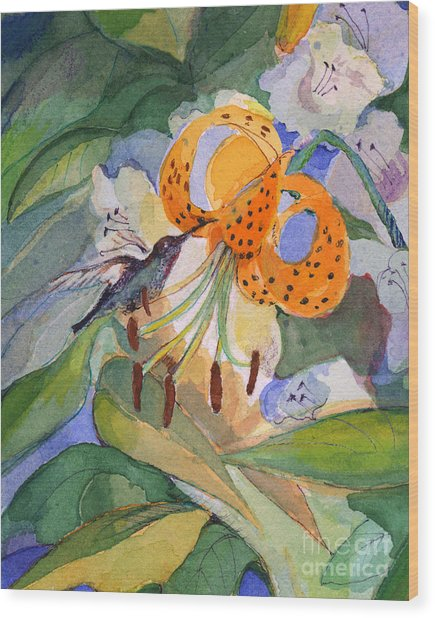 Hummingbird With Flowers Wood Print