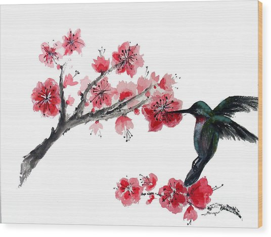 Hummingbird With Plum Blossom Wood Print