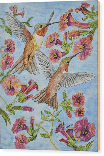 Hummingbirds And Hibiscus II Wood Print