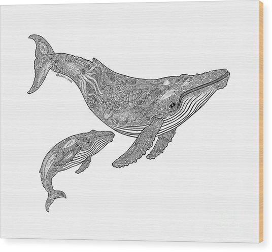 Humpback And Calf Wood Print