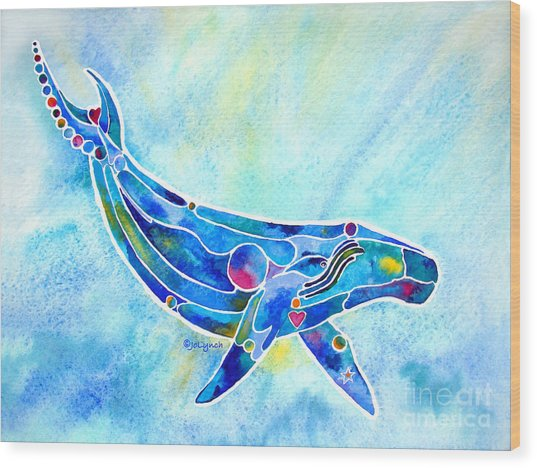 Humpback Whale Blues Wood Print
