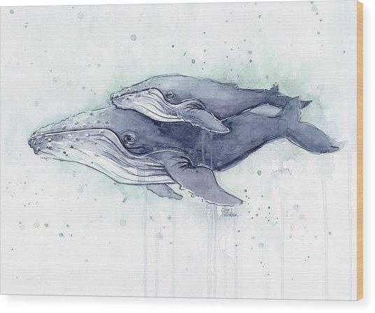 Humpback Whales Painting Watercolor - Grayish Version Wood Print
