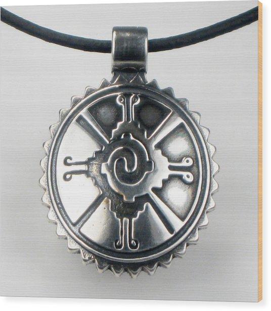 Hunab Ku Mayan Sterling Silver Pendant Wood Print