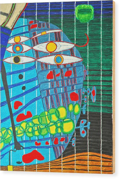 Hundertwasser Blue Moon Atlantis Escape To Outer Space In 3d By J.j.b Wood Print