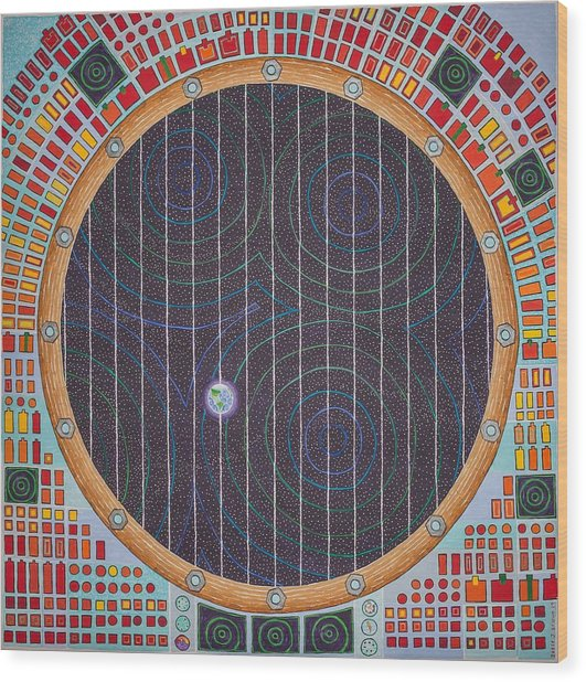 Hundertwasser Shuttle Window Wood Print