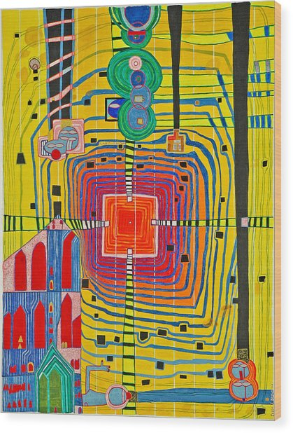 Hundertwassers Close Up Of Infinity Tagores Sun Wood Print