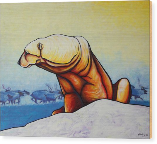 Hunger Burns - Polar Bear And Caribou Wood Print by Joe  Triano