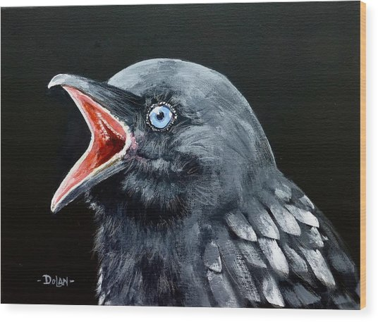 Hungry Baby Raven Wood Print
