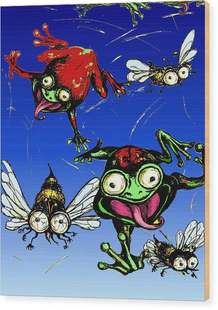 Hungry Frogs Wood Print