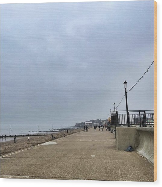 Hunstanton At 4pm Yesterday As The Wood Print