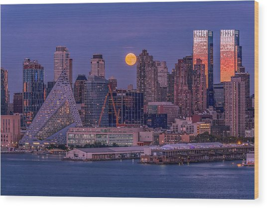 Hunter's Moon Over Ny Wood Print