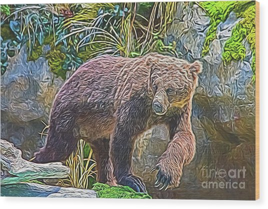 Wood Print featuring the digital art Hunting Bear by Ray Shiu