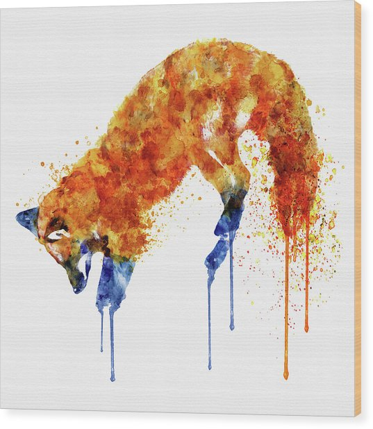 Hunting Fox  Wood Print