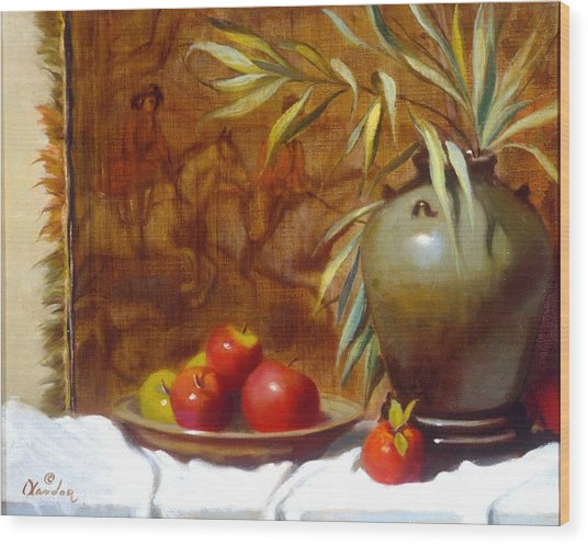 Hunting Tapestry With Chinese Vase And Apples Wood Print by David Olander