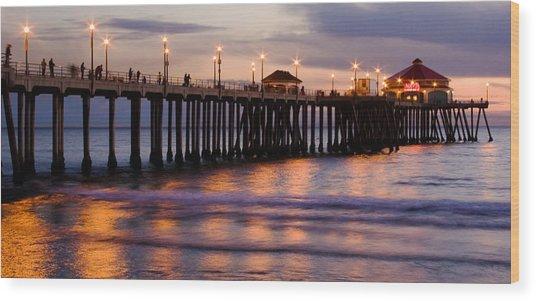 Huntington Beach Pier Wood Print by Charlie Hunt