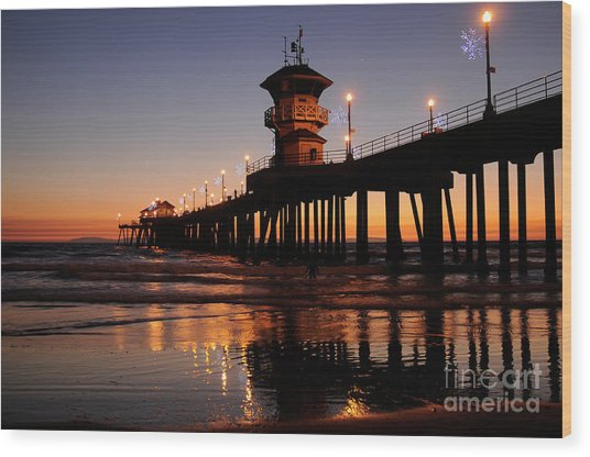 Huntington Beach Pier Wood Print by Timothy OLeary