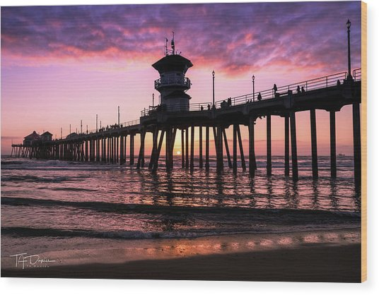 Huntington Pier At Sunset 2 Wood Print