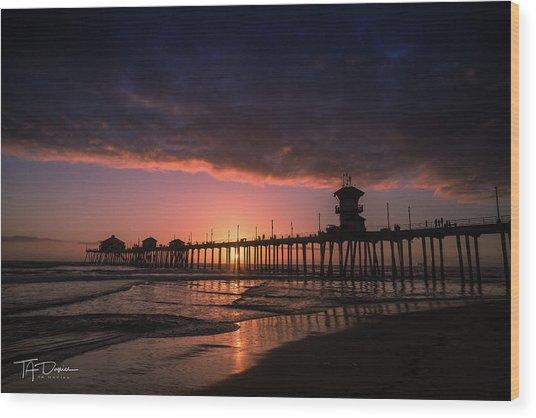 Huntington Pier At Sunset Wood Print