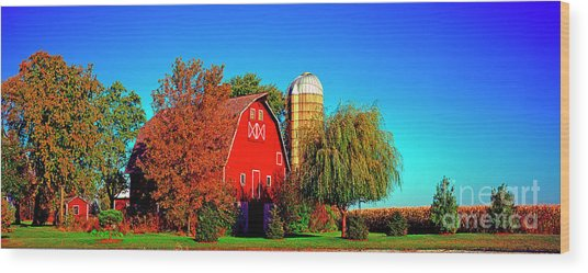 Huntley Road Barn Early Morning Wood Print